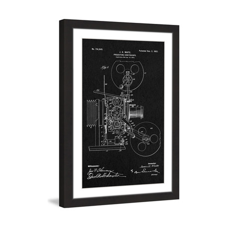 "Projector 1902 // Black Paper Framed Painting Print (8""W x 12""H x 1.5""D)"