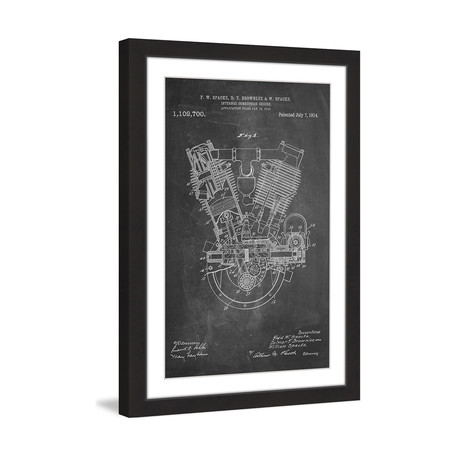 "Engine 1914 // Chalk Framed Painting Print (8""W x 12""H x 1.5""D)"