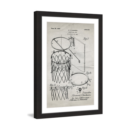 "Basketball Hoop 1925 // Old Paper Framed Painting Print (8""W x 12""H x 1.5""D)"