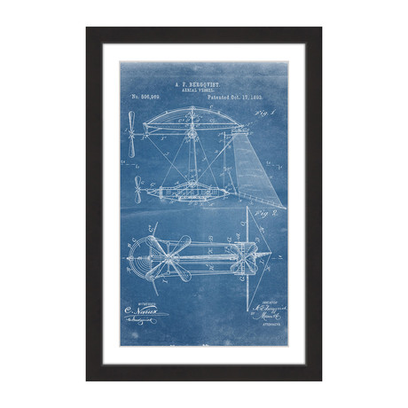 "Aerial Vessel 1893 // Blueprint Framed Painting Print (8""W x 12""H x 1.5""D)"