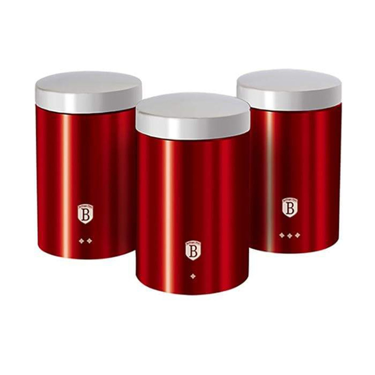 3 Piece Kitchen Canister Set Burgundy Collection Berlinger Haus Touch Of Modern