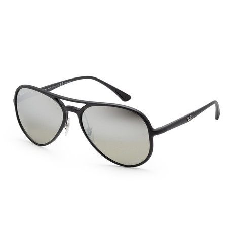 Unisex RB4320CH-601S5J58 Polarized Sunglasses // Matte Black + Gray Mirror