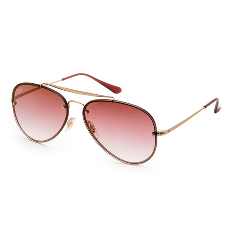 Unisex Sunglasses // Demi Gloss Gold + Brown Gradient + Pink Transparent