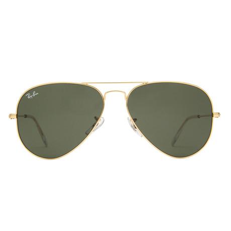 Unisex Classic Aviator Sunglasses // Gold + Green