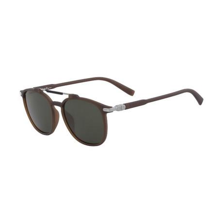 Salvatore Ferragamo // Men's SF893S-202 Sunglasses // Matte Brown + Green