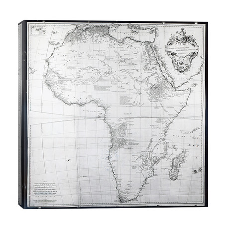 """Map of Africa, engraved // Guillaume Delahaye, 1749 // French School (26""""W x 26""""H x 1.5""""D)"""