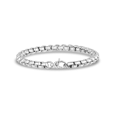 """Steel Box Link Bracelet // 6mm // Silver (7.5""""L)"""