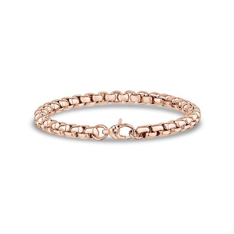 """Steel Box Link Bracelet // 6mm // Rose Gold Plated (7.5""""L)"""
