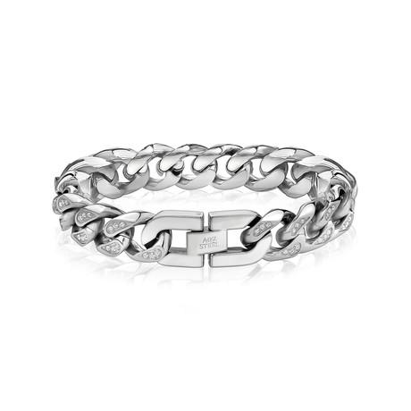 "Cuban Link + Stone Bracelet // 14mm // Silver (7.5""L)"