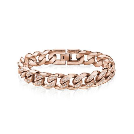 "Cuban Link + Stone Bracelet // 14mm // Rose Gold Plated (7.5""L)"