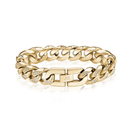 "Cuban Link + Stone Bracelet // 14mm // Gold Plated (7.5""L)"