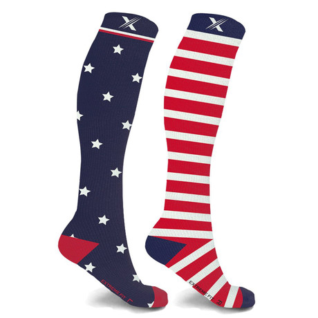 Mismatched Flag Knee High Compression Socks // 1-Pair (Small / Medium)