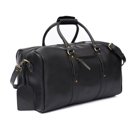 "Leather Luggage Bag 20"" // Black"