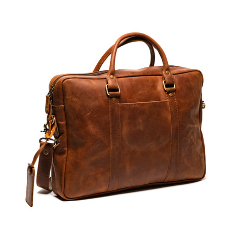 "Slim Leather Briefcase 15"" // Distressed Brown"