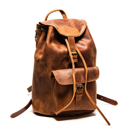 City Leather Backpack Small // Distressed Brown