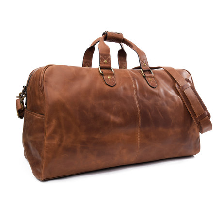 "Caesar Leather Duffle 24"" // Distressed Brown"