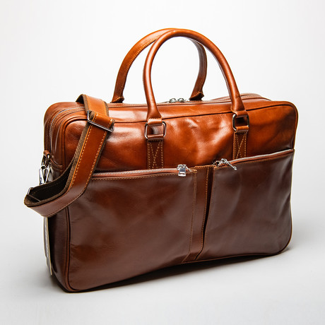 "Leather Briefcase Slim 17"" // Light Brown"