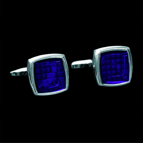 Exclusive Cufflinks + Gift Box // Silver + Blue Squares