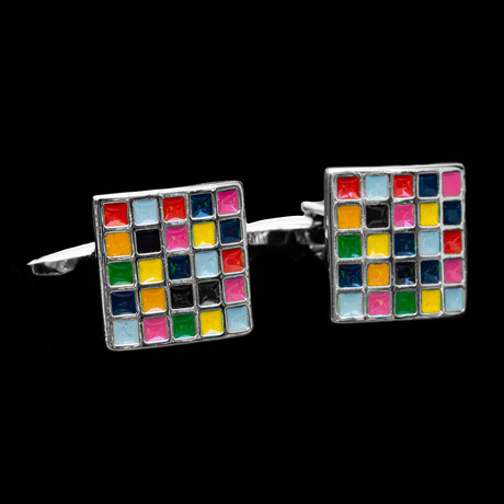Exclusive Cufflinks + Gift Box // Multicolor Cubes