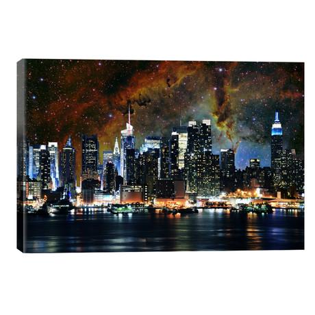 "New York City, New York Nebula Skyline // 5by5collective (40""W x 26""H x 1.5""D)"