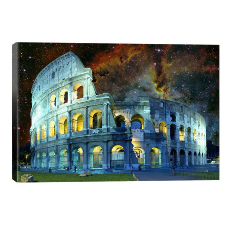 """Rome (Colosseum), Italy Nebula Skyline // 5by5collective (40""""W x 26""""H x 1.5""""D)"""