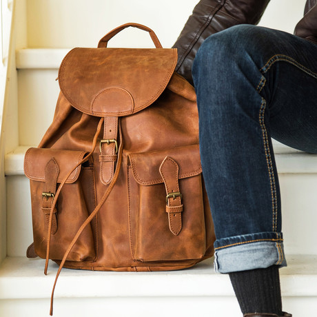 "City Leather Backpack 14"" // Distressed Brown"