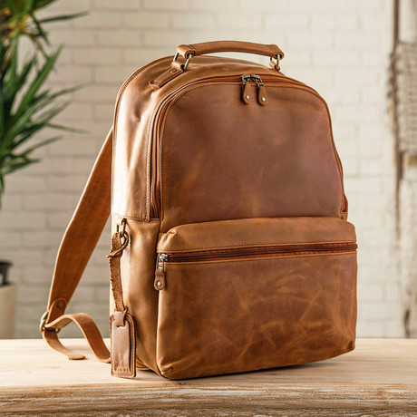 Leather Backpack Rucksack // Distressed Brown
