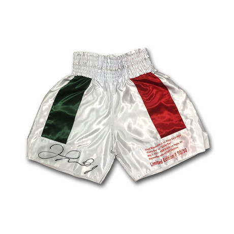 Floyd Mayweather Jr vs. De La Hoya // Signed Boxing Trunks