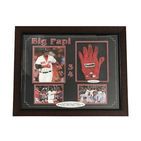 David Ortiz // Framed Red Sox Batting Glove Collage
