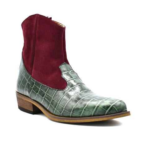 Crocodile Boot // Green + Burgundy (Euro: 38)