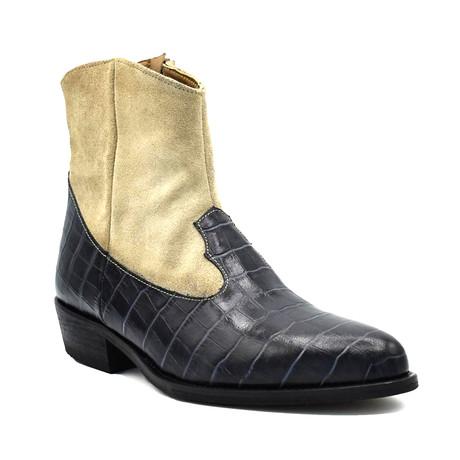 Brocodile Boot // Black + Beige (Euro: 38)