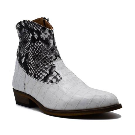 Crocodile + Snake Boot // White + Black (Euro: 38)