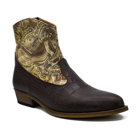 Shiny Crocodile Boot // Brown (Euro: 38)