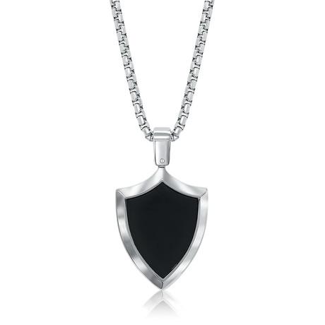 Crest Dog Tag Necklace // Silver + Black