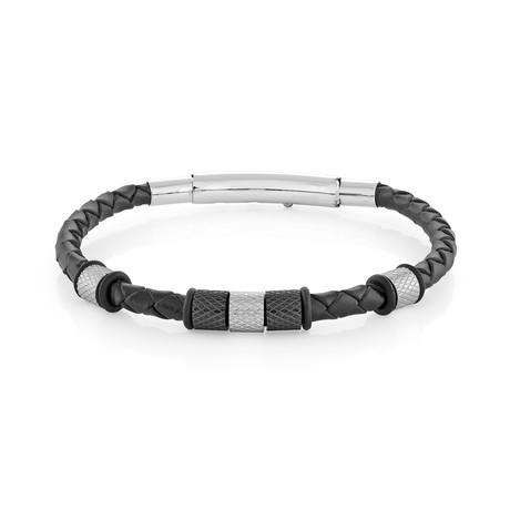 Stainless Steel + Leather Bracelet // Black + Silver