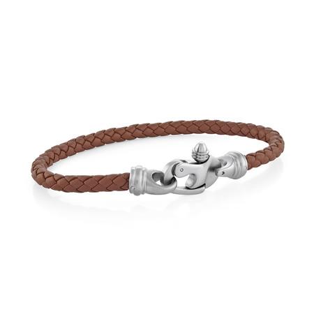 Leather + Steel Screw Clasp Bracelet // Brown + Silver (S)