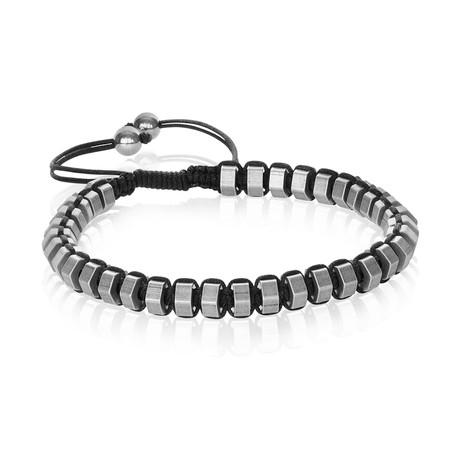 Antique Stainless Steel Beaded Bracelet // Gray
