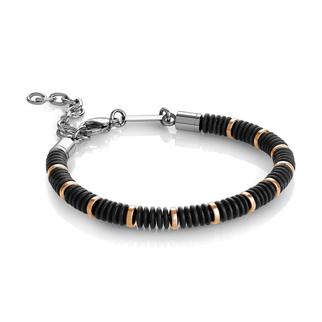 Stainless Steel + Hematite Beaded Bracelet // Black + Gold