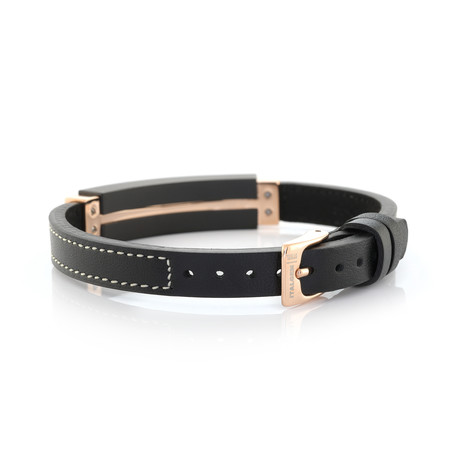 Stainless Steel + Leather Bracelet // Black + Rose Gold Plated