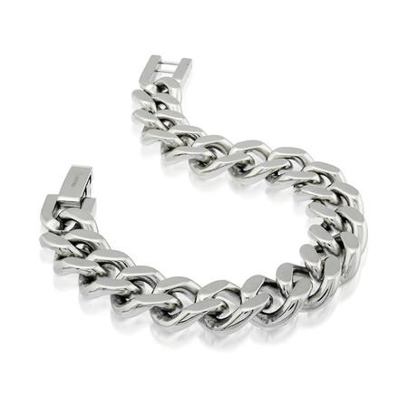Polished Curb Link Bracelet // Silver (S)