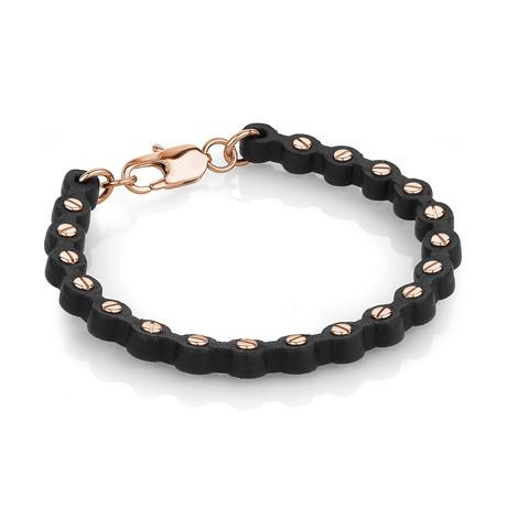 Screw Design Bracelet // Rose Gold Plated + Black (S)