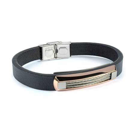 Cable + Leather Bracelet // Black + Rose Gold Plated (S)