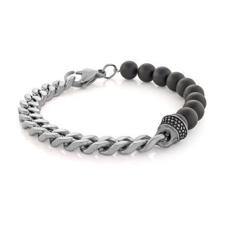 Cuban Link + Agate Bead Bracelet // Black + Silver (S-M)