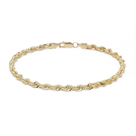 Hollow 14K Gold Rope Chain Bracelet // 4mm // Yellow
