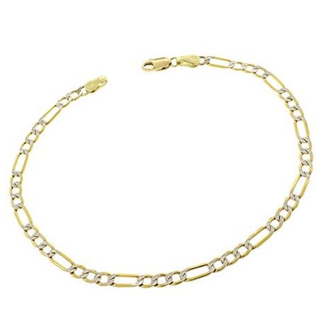 Hollow 14K Gold Figaro Chain Bracelet // 3.5 mm // Yellow + White