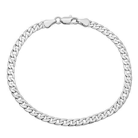 Hollow 14K Gold Curb Chain Bracelet // 4mm // White