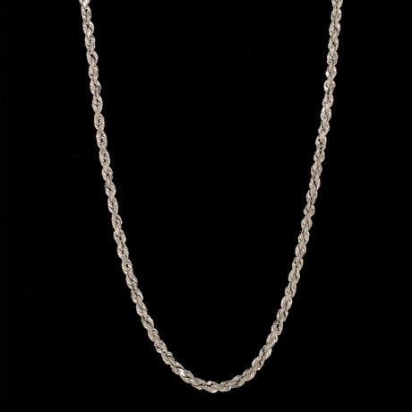 "Hollow 14K Gold Rope Chain Necklace // 3mm // White (20"" // 3.5g)"
