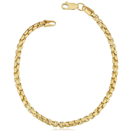 Semi-Solid 14K Gold Round Box Chain Bracelet // 2.5mm // Yellow