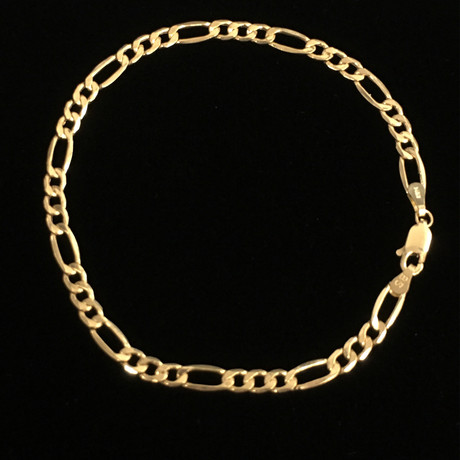 Hollow 14K Gold Figaro Chain Bracelet // 3.5 mm // Yellow