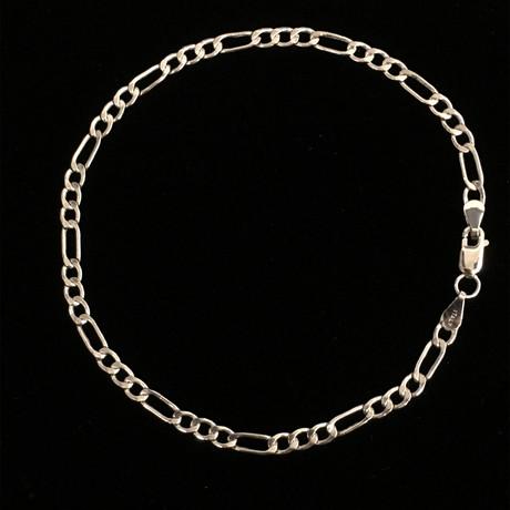Hollow 14K Gold Figaro Chain Bracelet // 3mm // White